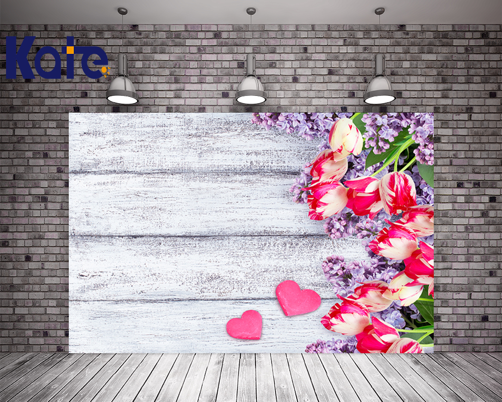 Kate ValentineS Day Photography Backdrops Pink Flowers Love Wood Photo Background For Girls Wedding Photography Backdrops<br>