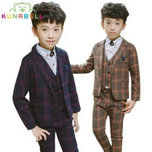 Boys Formal Suits for Weddings Brand England Child Kids Fashion Party Tuxedos Boys Gentlemen Jacket Blazer Vest Shirt Pants B017