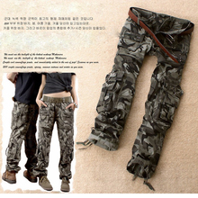 Free Shipping Camouflage Pants Female Casual Trousers Mid Waist Male Pants Loose Cargo Pants For Women Pants(China)