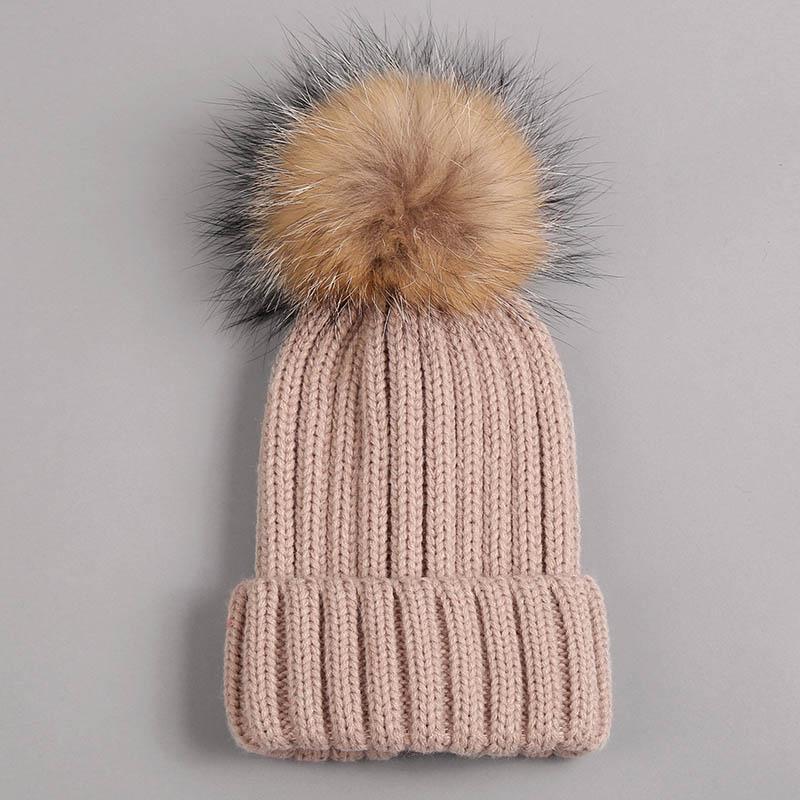 kid hat with fur pompom beige 1