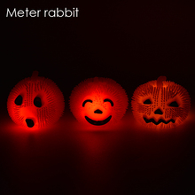 Cute AntiStress ball light glow Reliever tpr ball Halloween Pumpkin autism child Squeeze fun Healthy Funny  Gadget Vent Toy