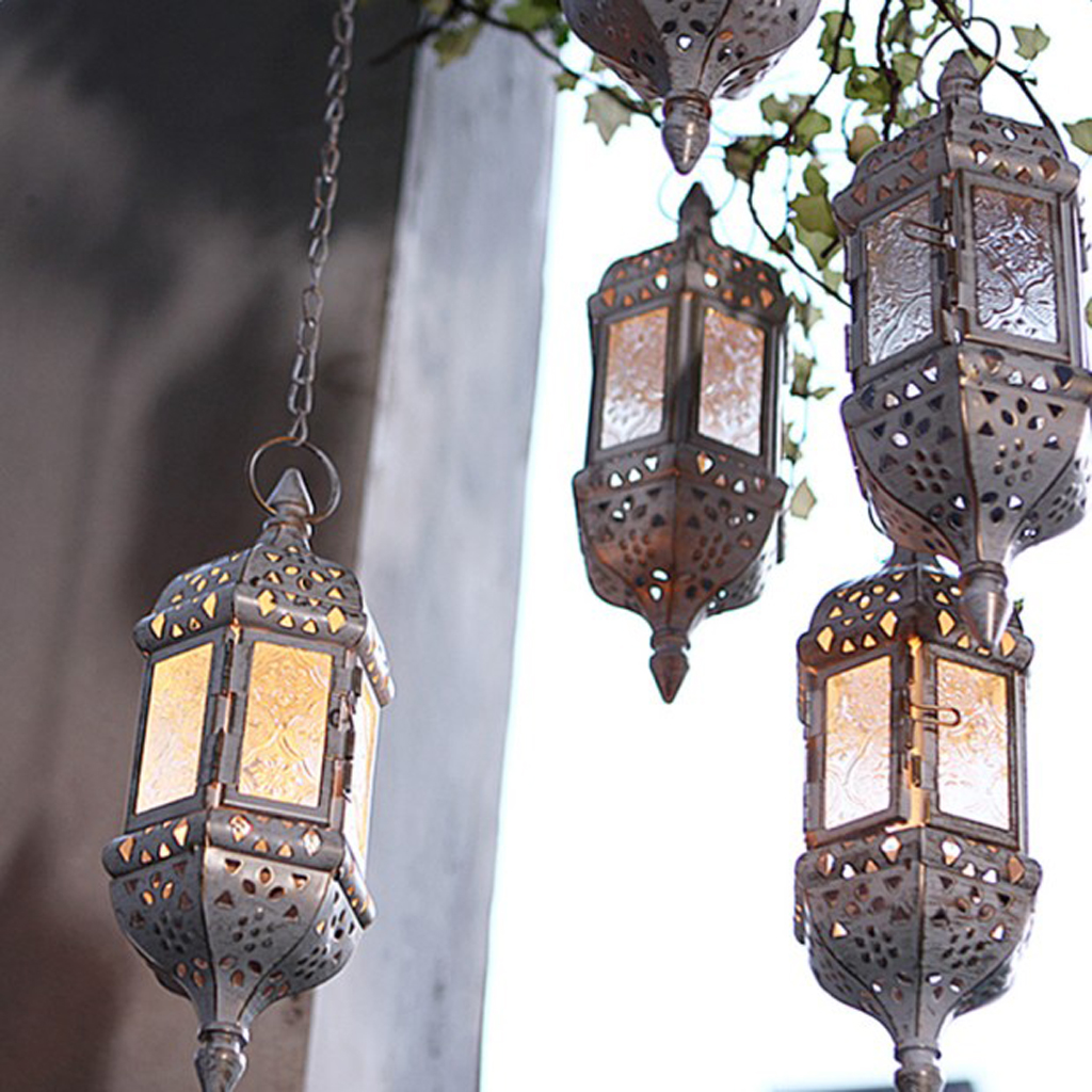 Classic Moroccan Windproof Candle Holders Votive Iron Glass Hanging Candlestick Wedding Decoration Candle Lantern Home Decor
