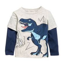 Brand 2017 long sleeve kids clothes child spring autumn100%cotton boy's t shirt 1-6Y Tees Baby  blouse jacket  sweater lion cars