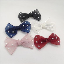 Transparent Bow Hair Clip Big Bowknot Gift Hairbow Barrette Girl Large Gauze White Black Red Hair Grip with Beads 20pcs/lot