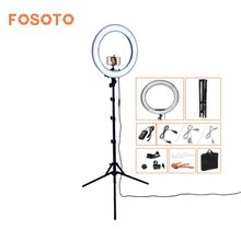fosoto RL-18 photography lighting Dimmable 240 LEDs 55W 5500K Camera Photo Studio Phone Video Ring Light Lamp With Tripod Stand(China)