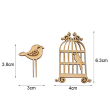 QITAI Primary Wood Wooden Cage Creative Home Decor Small Ornaments Shooting Props   Wf213