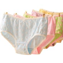 Inexpensive Women's 3D Little Daisy Printing Underwear Low Waist Cotton Bowknot Briefs Panty .
