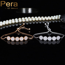 Pera New Arrival Christmas Gift 5 Big Round Cubic Zirconia Stone Pave Adjustable Chain Tennis Bracelet Jewelry For Women B088