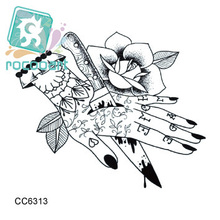 Rocooart CC6313 6X6cm Little Vintage Old School Style Kill my Hand Temporary Tattoo Sticker Body Art Water Transfer Fake Taty(China)