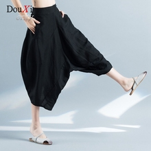 2017 New Summer Women Harem Cross Pants Loose Casual Black Thin Cotton and Linen Wide Leg Calf-length Pants Trouser For Ladies