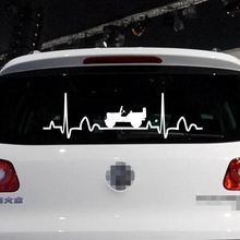 Funny Electrocardiogram Heart Car Decal Sticker Vinyl Fit for Jeep Die cut no background pick color and size(China)