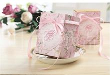 European High Capacity Wedding Candy Box Square Packaging Gift Chocalates Boxes With  Ribbon For Wedding Party Supplies