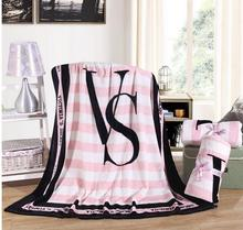 KNITTED&HOME 2017  Fleece Blanket Pink VS Secret Blanket Manta  Sofa/Bed/Plane Travel Plaids Bedding Towel Set