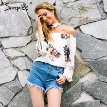 Buy Simplee Floral print shoulder chiffon blouse Women tops halter cool long sleeve female blouse shirt Sexy loose white blusas