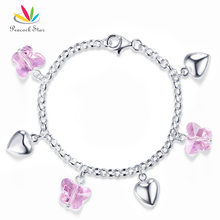 Peacock Star Solid 925 Sterling Silver Bracelet Baby Kids Girl Pink Butterfly Crystal Hearts Gift Children Jewelry CFB8004