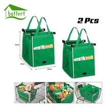 2Pcs/Lot Grocery Grab Shopping Foldable Tote Eco-friendly Reusable Storage Organizer Trolley Supermarket Large Capacity Bag