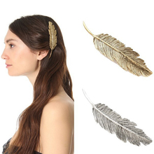 1 Pair European Fashion Gold Color Leaf Metal Hair Pin Feather Hair Barrette Punk Elegant Fancy Hair Clip For Women Accessories
