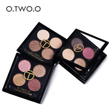 O.TWO.O New Brand Men Women Waterproof Pigments 4 Color Shimmer Eyeshadow Makeup Palette Warm Brown Red Eye Shadow Cosmetic(China)