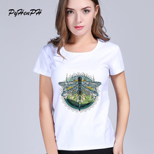 Kawaii Modern abstract dragonfly new fashion 2017 T shirt women T-shirt female top funny Tshirt white tops tees tumblr clothing