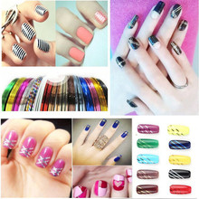 20Pcs Mixed Colorful Beauty Rolls Striping Decals Foil Tips Tape Line DIY Design Nail Art Stickers for nail Tools Decorations(China)