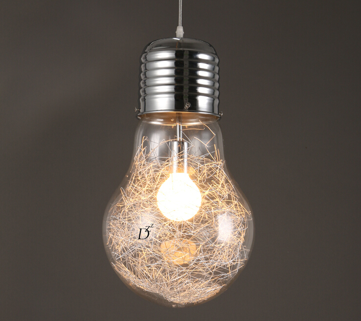 Modern Glass Big LED Bulb Dining Room Bar Wire metal Ceiling Pendant Lamp Light Aluminum Lighting Fixture Creative 150mm~300mm<br>