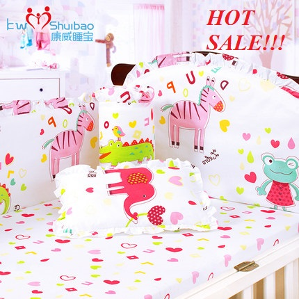 4-5-6pcs baby bedding set ,100% combed cotton embroidered crib bedding set ,infant nursery set,baby bedding set bumper<br>