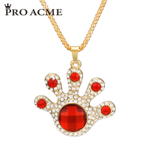Pro Acme Lucky Palms Long Necklaces & Pendants for Women Big Crystal Sweater Chain Bohemian Necklace Fashion Jewelry PN0716(China)
