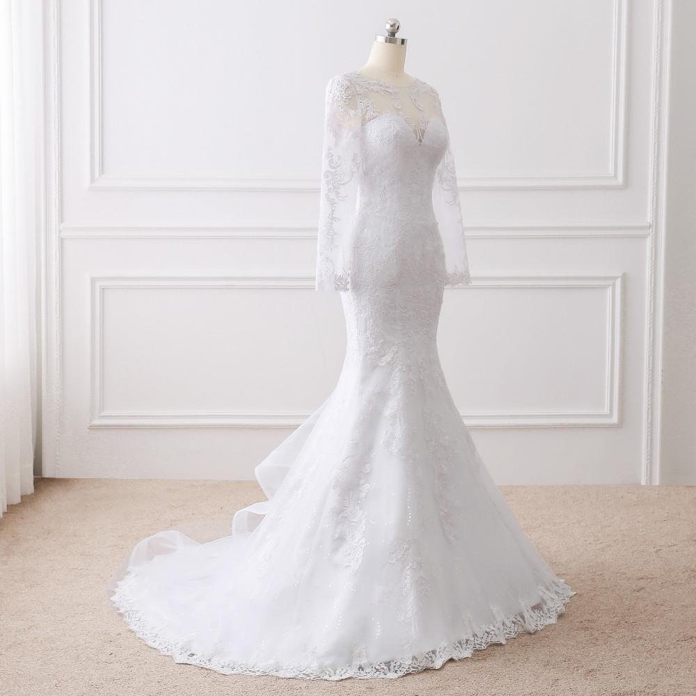 Lover Kiss Vestido De Noiva 2017 Elegant Wedding Gowns Bridal Dresses Popular Vintage Mermaid Long Sleeves Lace Wedding Dress 3