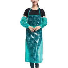 Waterproof Anti-Oil Apron with Oversleeve Chef Work Wear Cook Uniform Kitchen Cooking Apron Halter Bib Food Service(China)