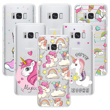 Unicorn Phone Case For Samsung Galaxy J330 S6 edge plus S7 edge S8 Plus Note 8 Cute Rainbow Horse Soft Silicone Protective Cover(China)
