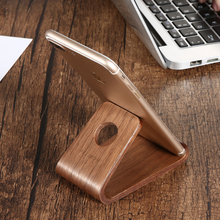 Universal Genuine Wooden Phone Holder Stand Station Dock For iPad iPhone 8 7 6 Natural Wooden Mini Cute Phone Tablet PC Desk(China)