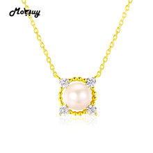 MoBuy MBNI028 7~8mm Round Natrual Freshwater Pearl Necklace & Pendant 925 Sterling Silver 14K Yellow Gold Plated Fine Jewelry