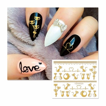 YZWLE 1 Sheet Hot Gold 3D Cute Cat Designs Nail Art Stickers Decals For Nail Tips Decoration DIY Fashion Nail Art Accessories