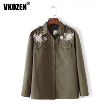 Women Vintage Flower Embroidery Army Green Blouse Turn Down Collar Long Sleeve Shirt Casual TopsYN-4502