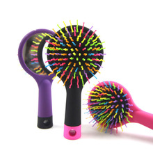 Rainbow Comb Brush Anti-static Magic Hairbrush with Mirror Women Hair Scalp Massage Comb Wet Hair Brush for Salon Styling Tools