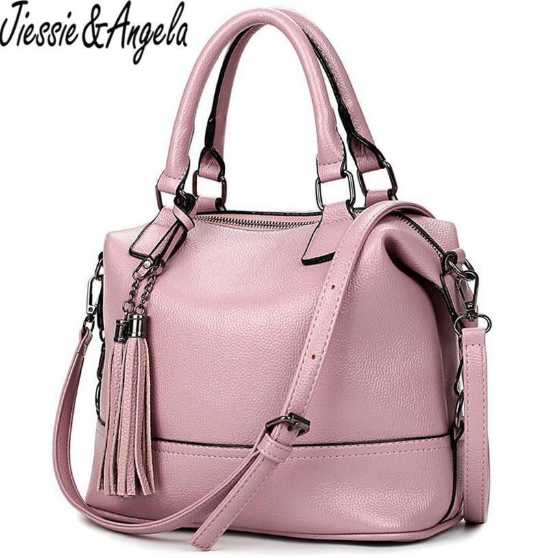Jiessie &amp; Angela 2016 Luxury Women Leather Handbag Designer Women Bag High Quality Shoulder Messenger Bag Famous Brands Hand Bag<br>