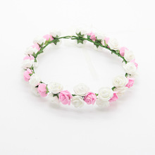 New Style PE Rose Flower Crown Headbnad For Women Bridal Wedding Beach Wreath Hairband Halo Hair Accessories(China)