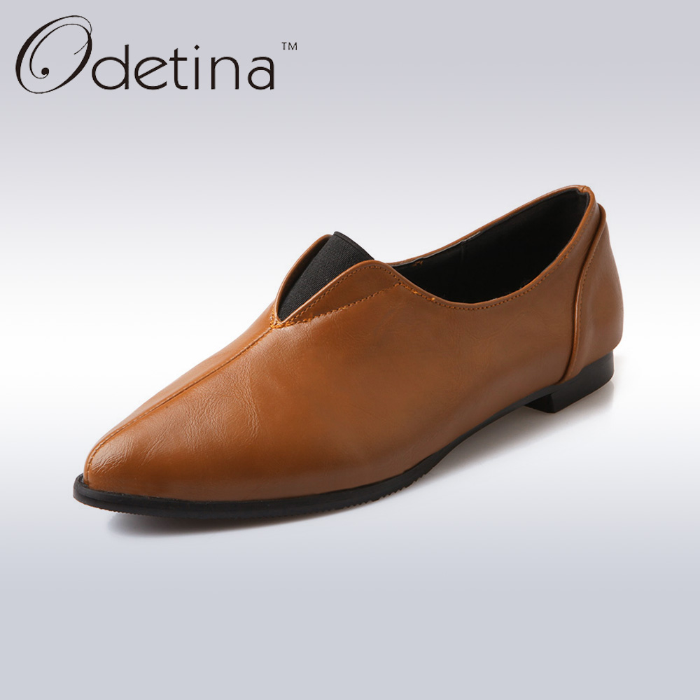 Odetina Fashion Women Pointed Toe Soft Loafers 2017 Spring&amp;Summer Women Simple Non-slip Flats Handmade Women Slip on Shoes <br><br>Aliexpress