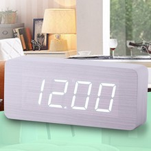 2017 Modern Calendar Alarm Clocks ,Thermometer Wooden clocks,LED Clock , Big numbers with digital clocks for wholesale(China)