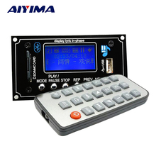 Aiyima LCD 12V WMA WAV MP3 Player Decoder Audio Board FM Bluetooth Receiver Lyrics Show(China)