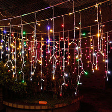 16.5ft 5M droop 0.4-0.6m Curtain Icicle LED String Lights For Outdoor Christmas Indoor Wedding Party Garland New Year EU Plug(China)