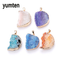 Yumten Crystal Pendant Natural Agate The Geode Clusters Buds Ribbon Moon Necklace Cave Gold Sterling Jewelry Statement Perfumes