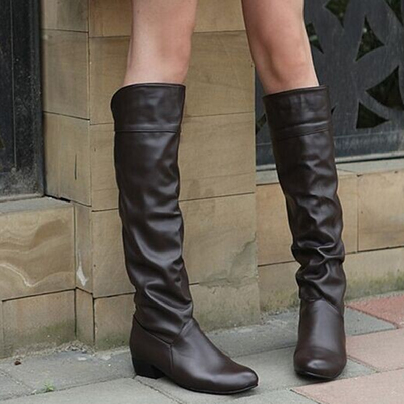 Lady big size(4 to 12) Velvet Pleated Patent leather knee -height Motorcycle winter Autumn boot height heel boots women shoes<br>