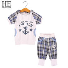 kids boys clothes summer children clothing White letter plaid Hooded t shirt+ pants kids tracksuit boys clothing sets infantil(China)