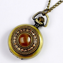 New Ambar Black Stone Crystal Pocket Watch Women Vintage oval stone rhinestone Necklace Watch Vintage old fashion fashion woman(China)