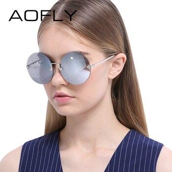 Aofly rodada sem aro óculos de sol das mulheres do vintage óculos de sol das mulheres do sexo feminino marca de design espelhado lens uv400 óculos de sol luneta de soleil