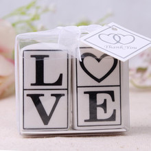 Free shipping 160pcs=80 set/lot love word ceramic salt and pepper shaker wedding favor(China)