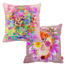 Girly Sugar Skull Butterfly Pink Flowers Print Canvas Car Decorative Throw Pillowcase Pillow Case Cushion Cover Sofa Home Decor