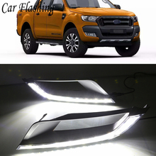 Car Flashing styling 1set For Ford Ranger Wildtrak 2015 - 2017 LED DRL Daytime Running Light Daylight Fog Head yellow turn Lamp(China)