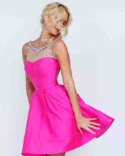 Amdml Hot Sale Vestido De Festa  Hot Pink Beaded Crystal O-Neck Ball Gown Bridesmaid Dresses Pearls Tulle Back Formal Party Gown